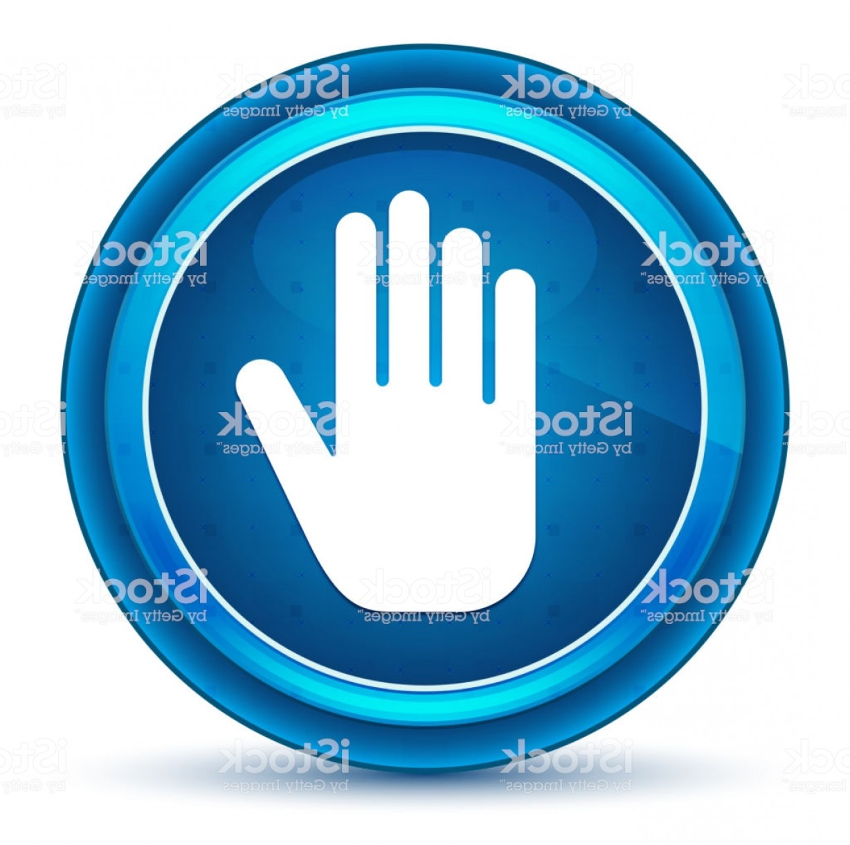 Hand Stop Vector Teal: Stop Hand Icon Eyeball Blue Round Button Gm