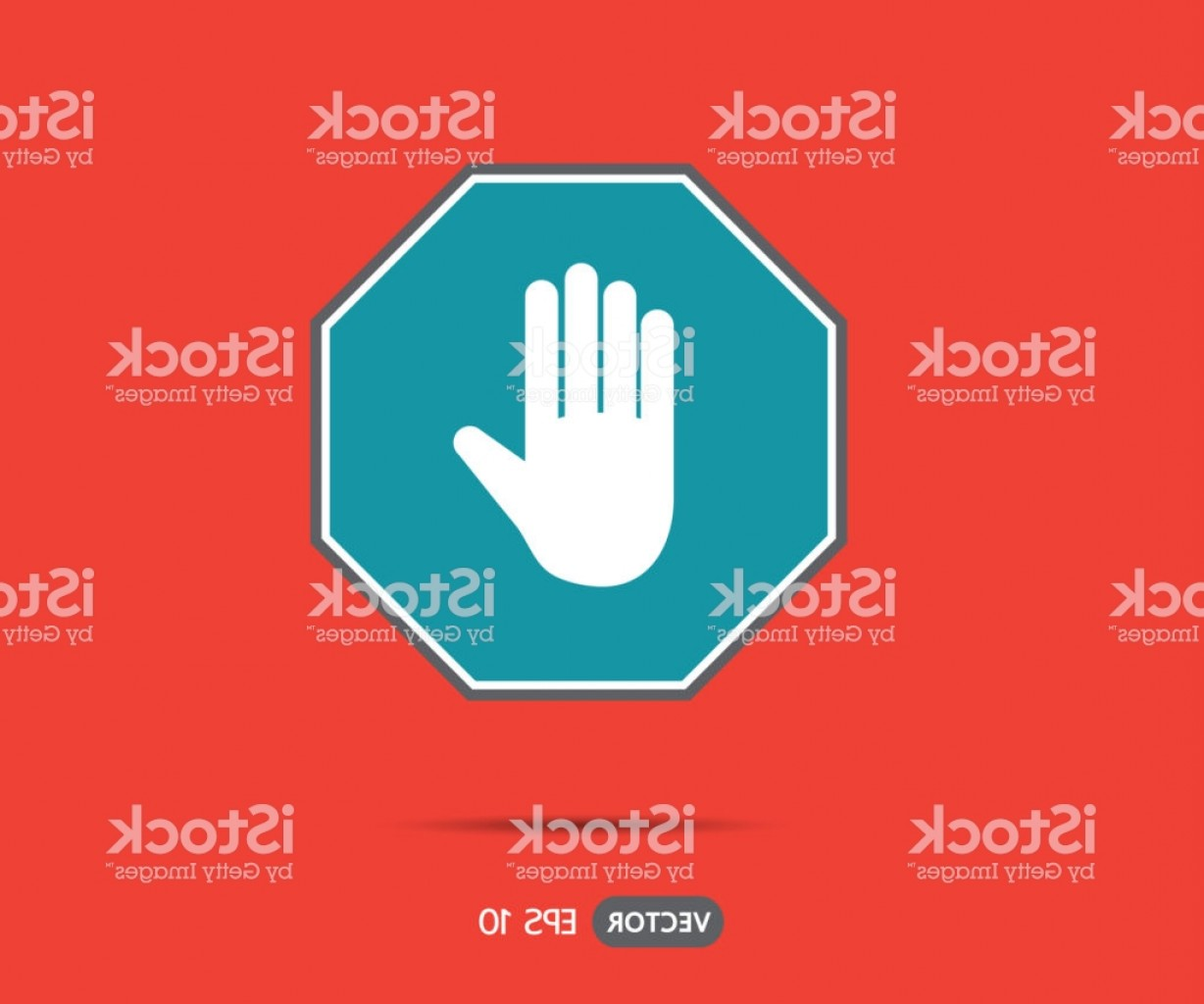 Hand Stop Vector Teal: Stop Hand Octagonal Sign For Prohibited Activities Logo Vector Illustration Gm