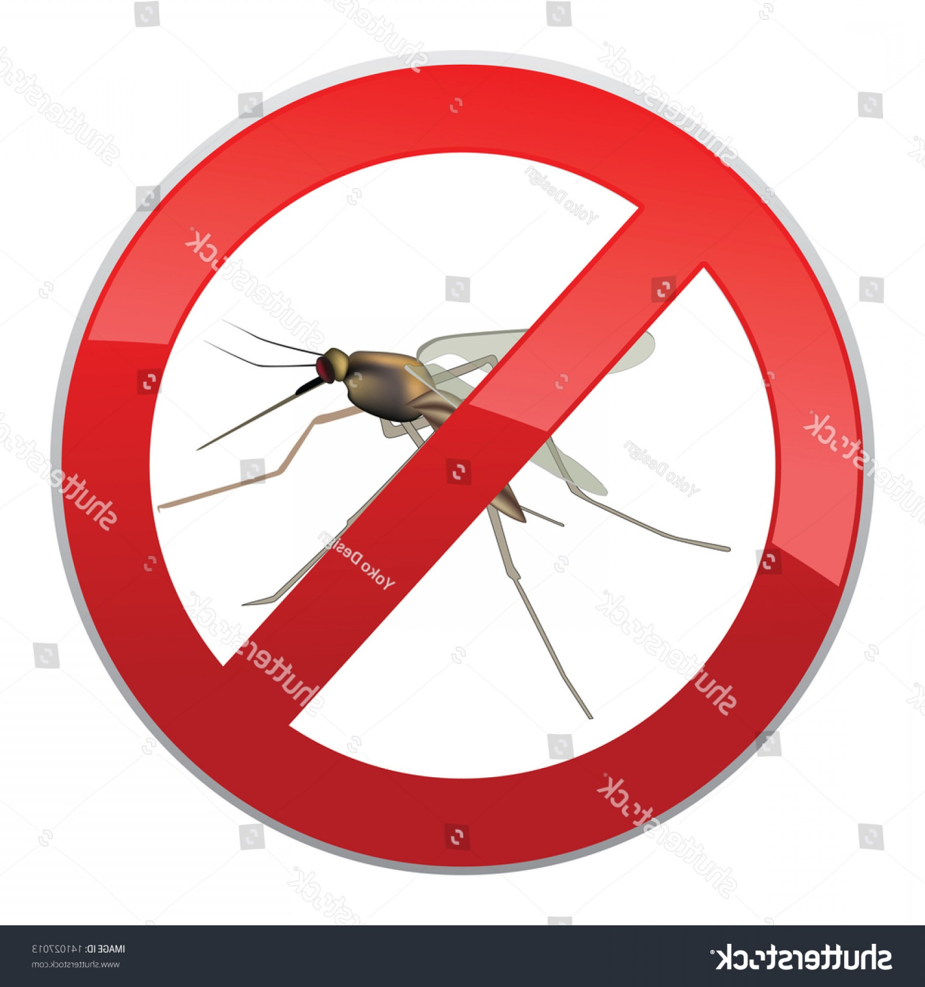 Vector Ban Plus Insecticide: Stop Mosquito Ban Symbol No Mosquitoes