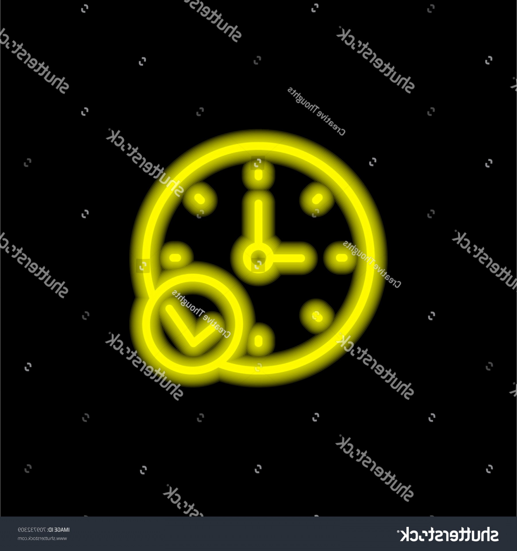 Stop Watch Vector Ai File: Stopwatch Yellow Glowing Neon Ui Ux