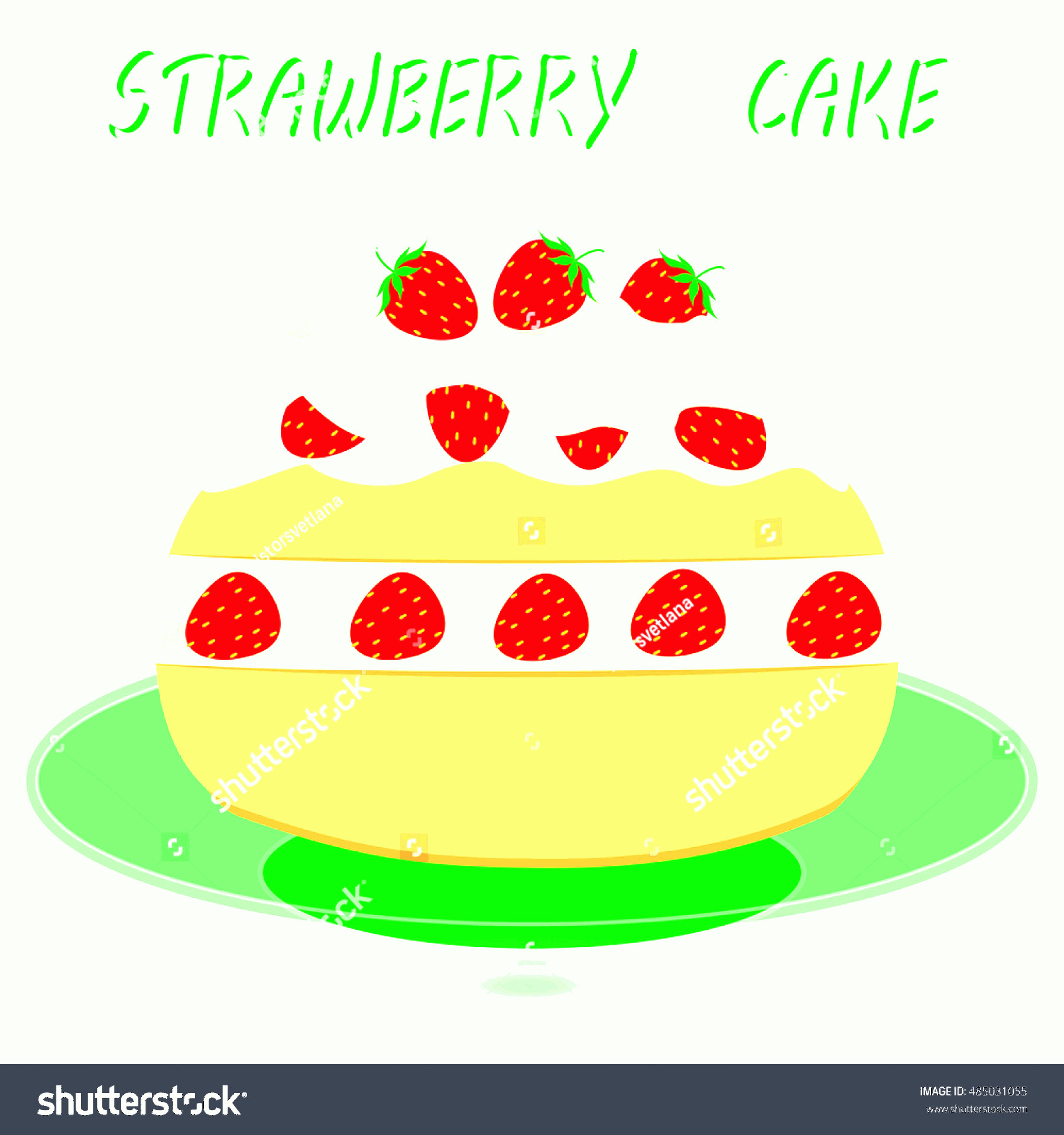 Vector Abstract Art Cake: Strawberry Cake On Plate Decorative Background