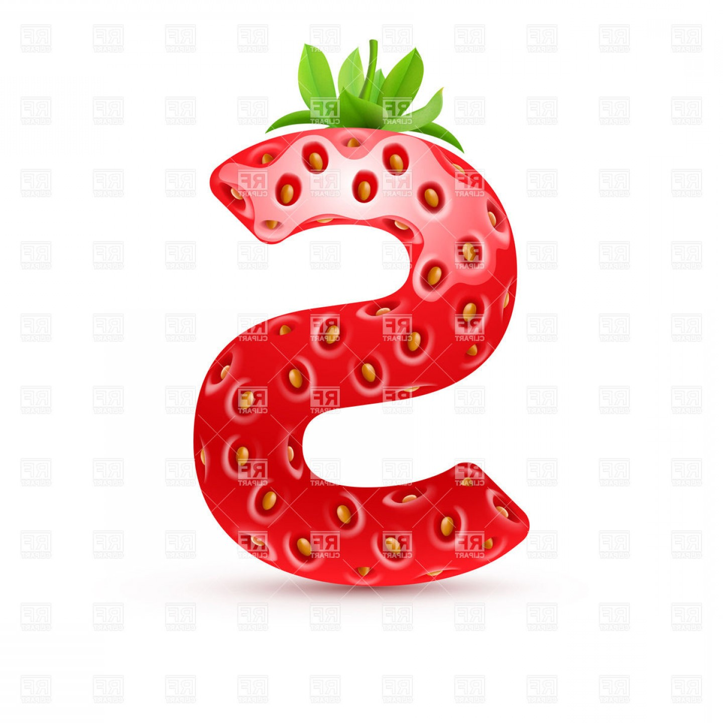 Letter S Vectors: Strawberry Style Font Letter S Vector Clipart
