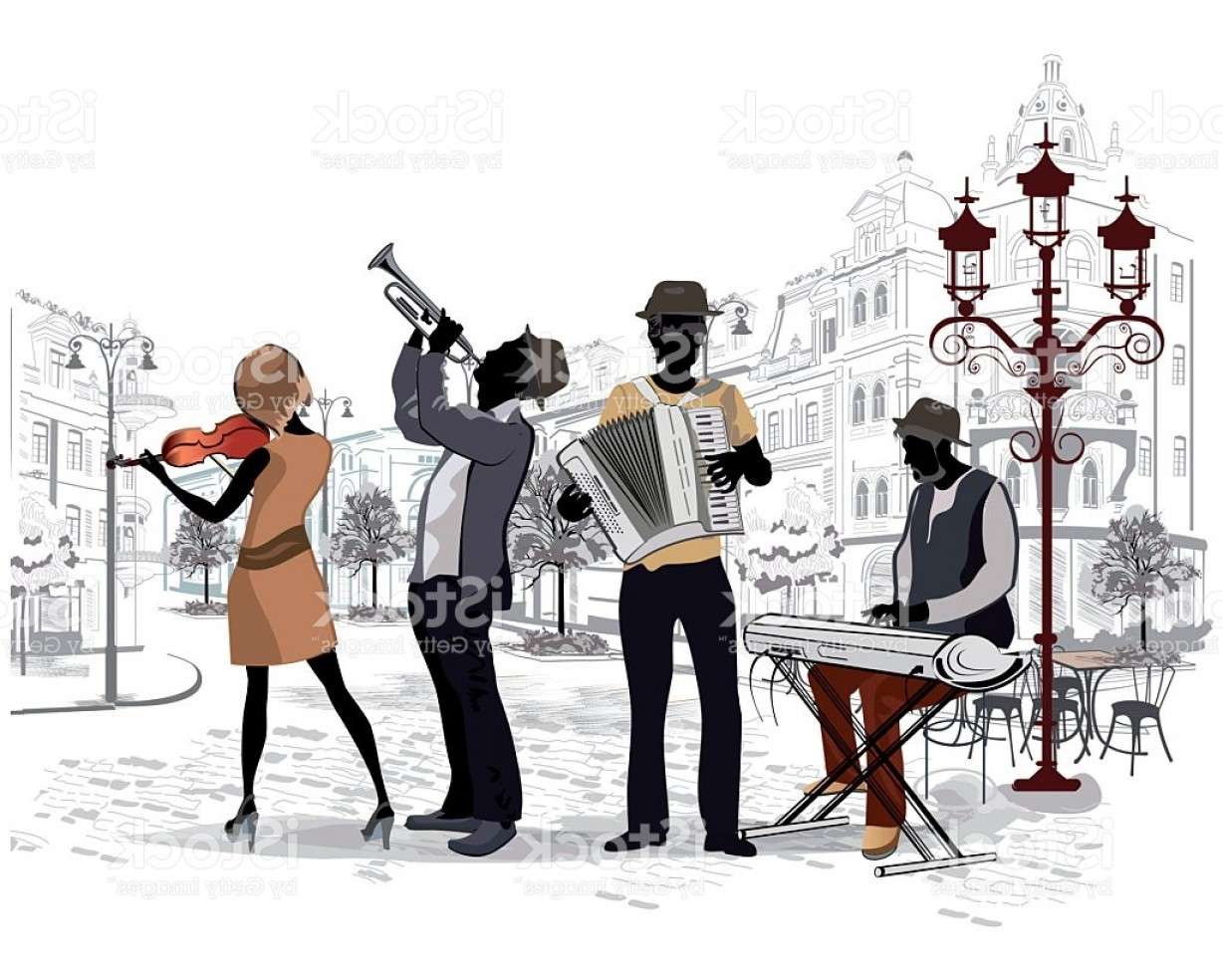 Musician Person Vector: Street Musicians In The Streets Of The Old City Gm