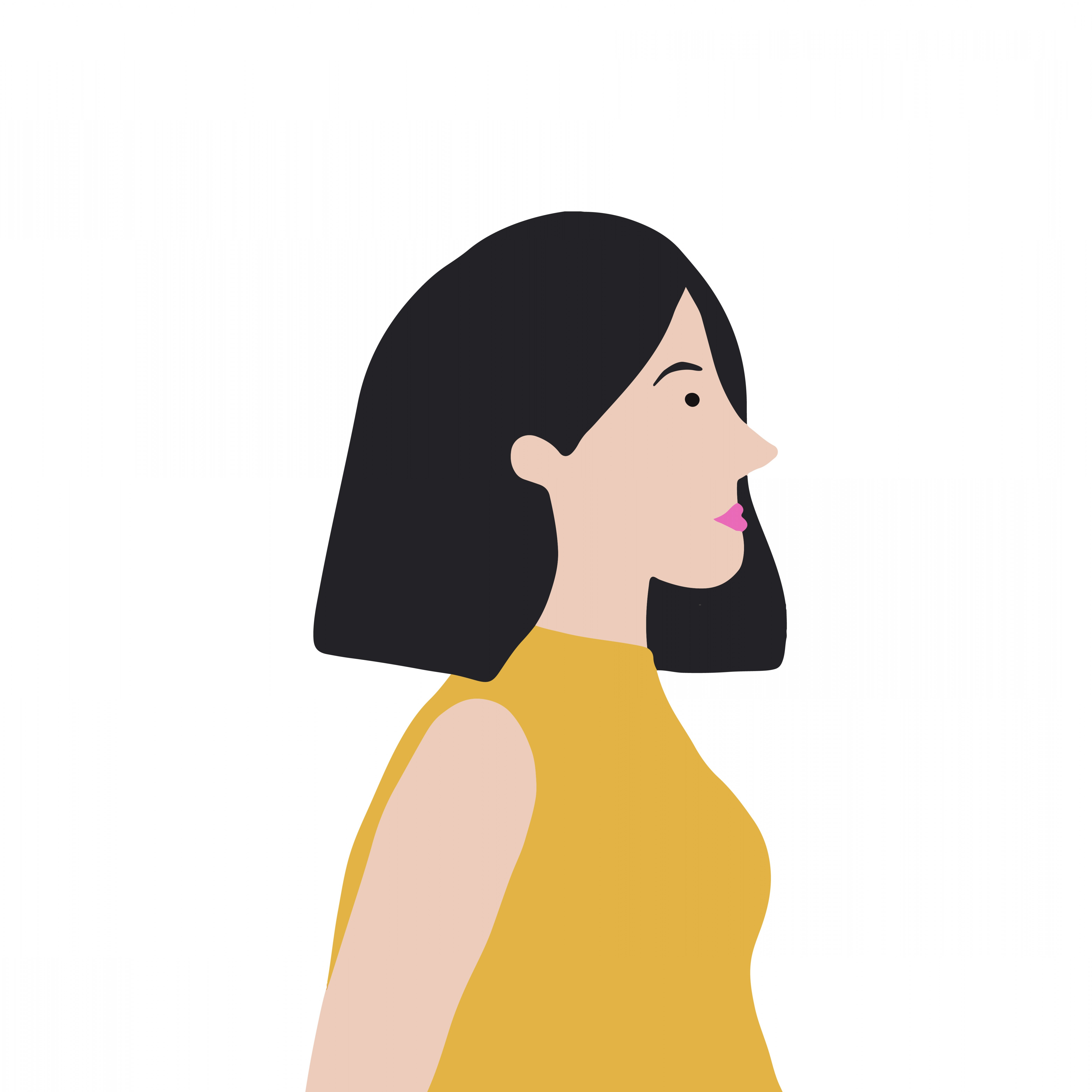 Asian Woman Vector: Strong Asian Woman In Profile Vector