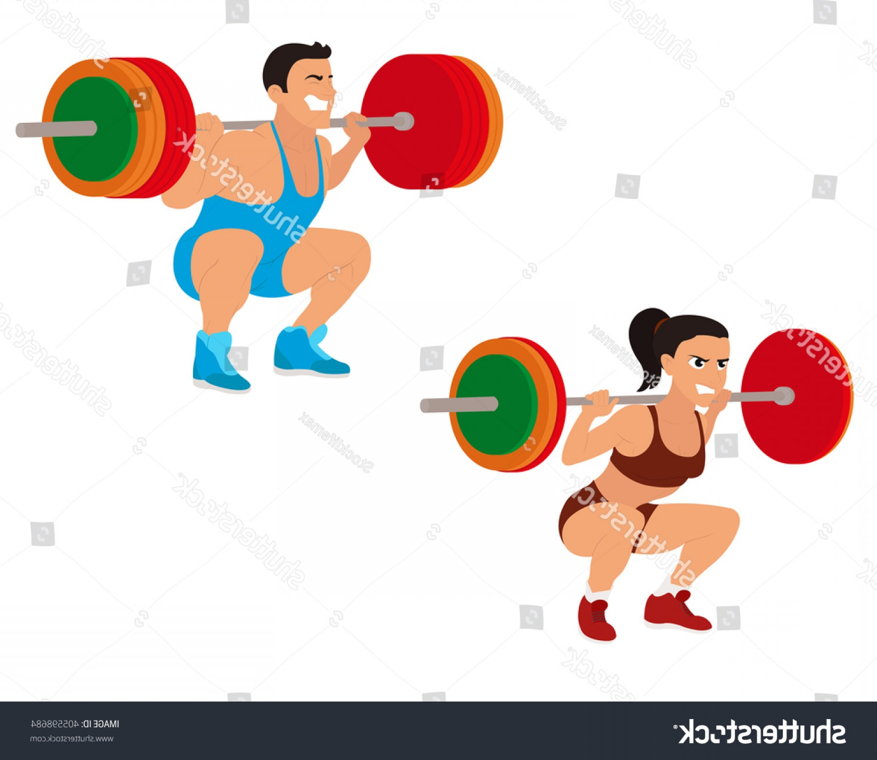 Vector Weight Lifting: Strong Beautiful Man Woman Engaged Weightlifting