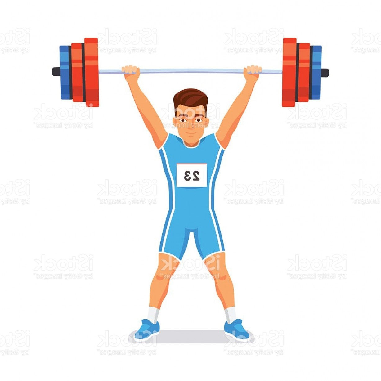 Weightlifter Vector Art: Strong Bodybuilder Sportsman Weightlifting Sport Gm