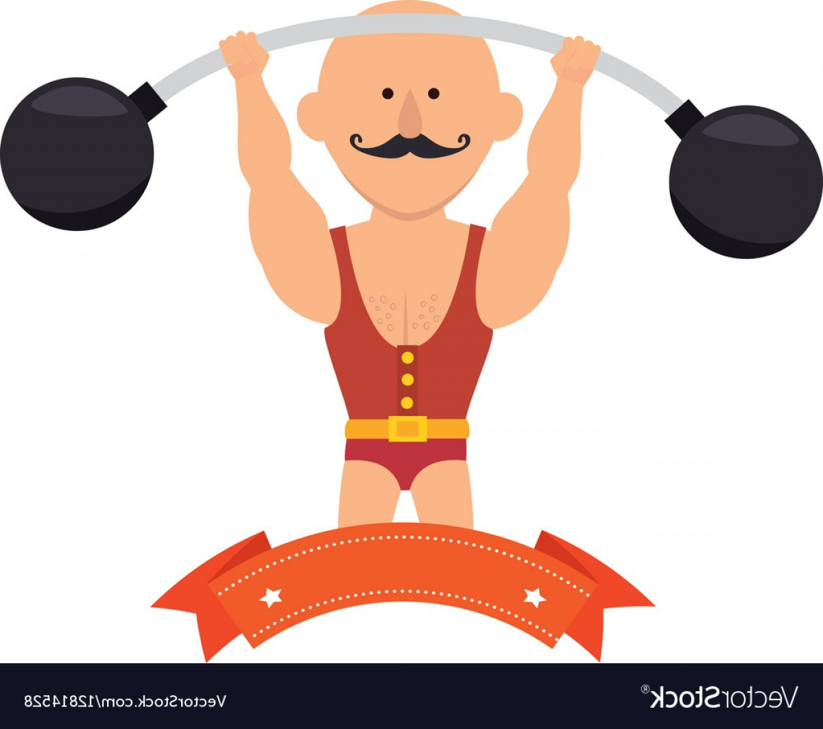 Vector Weight Lifting: Strong Man Circus With Weight Lifting Vector