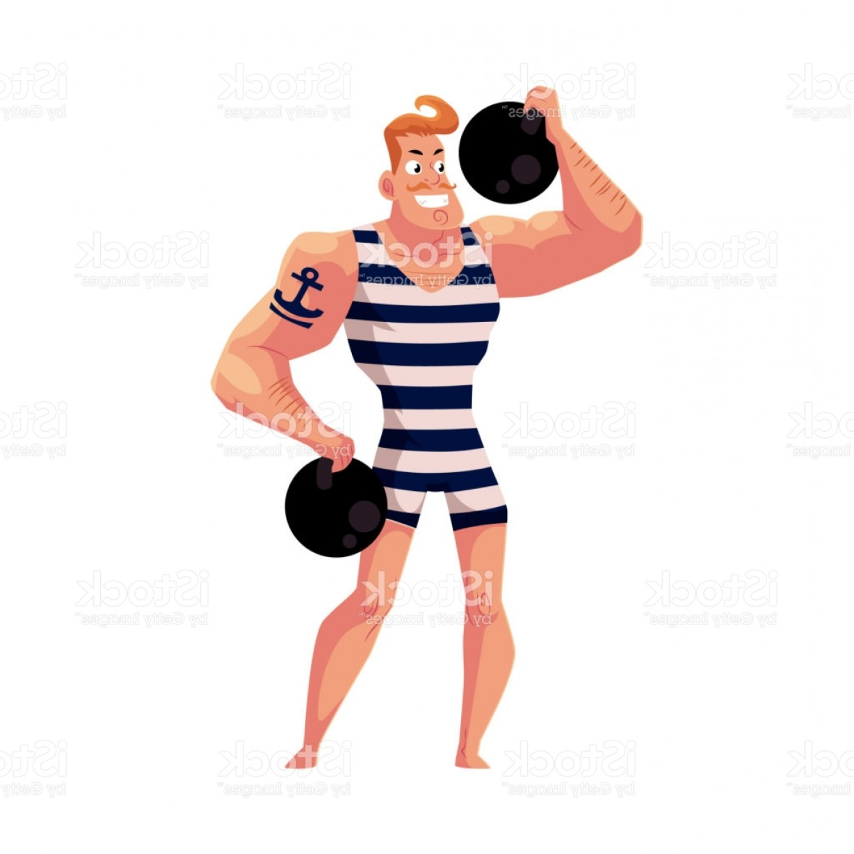 Weightlifter Vector Art: Strongman Strong Man Circus Performer Weightlifter With Cannon Balls Gm