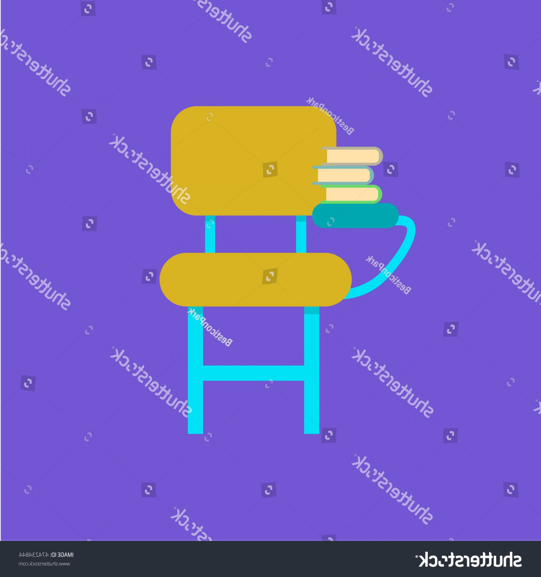 Student Desk Icon Vector: Student Desk Icon Flat Design