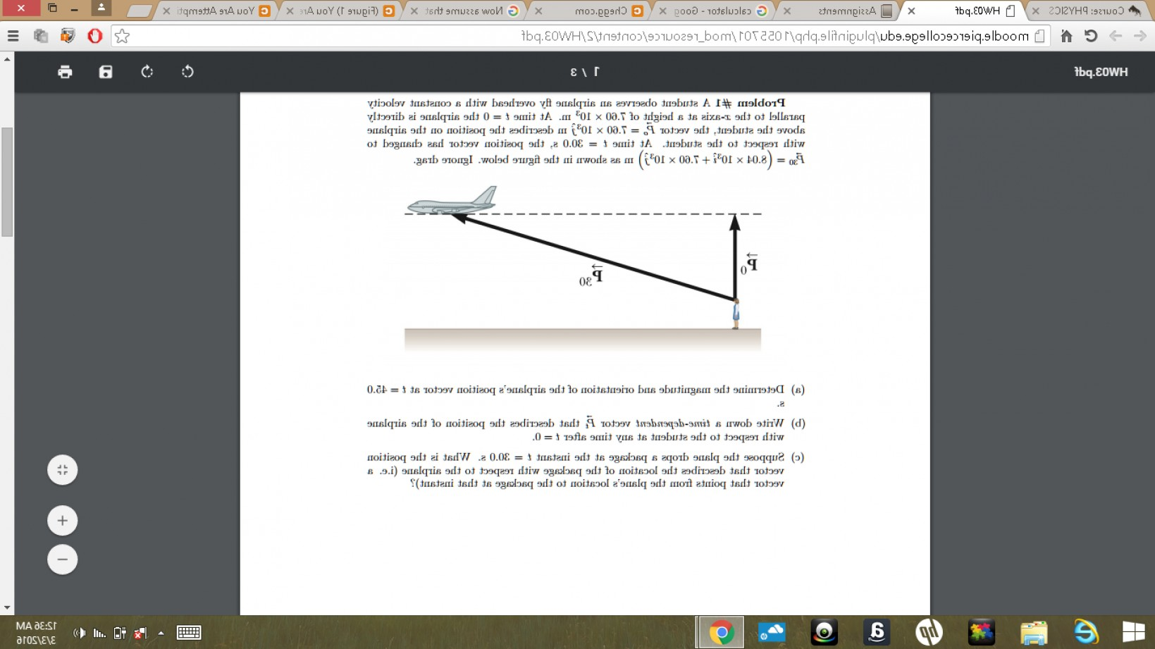 Vector Airplane Problem: Student Observes Airplane Fly Overhead Constant Velocity Parallel X Axis Height Times Q