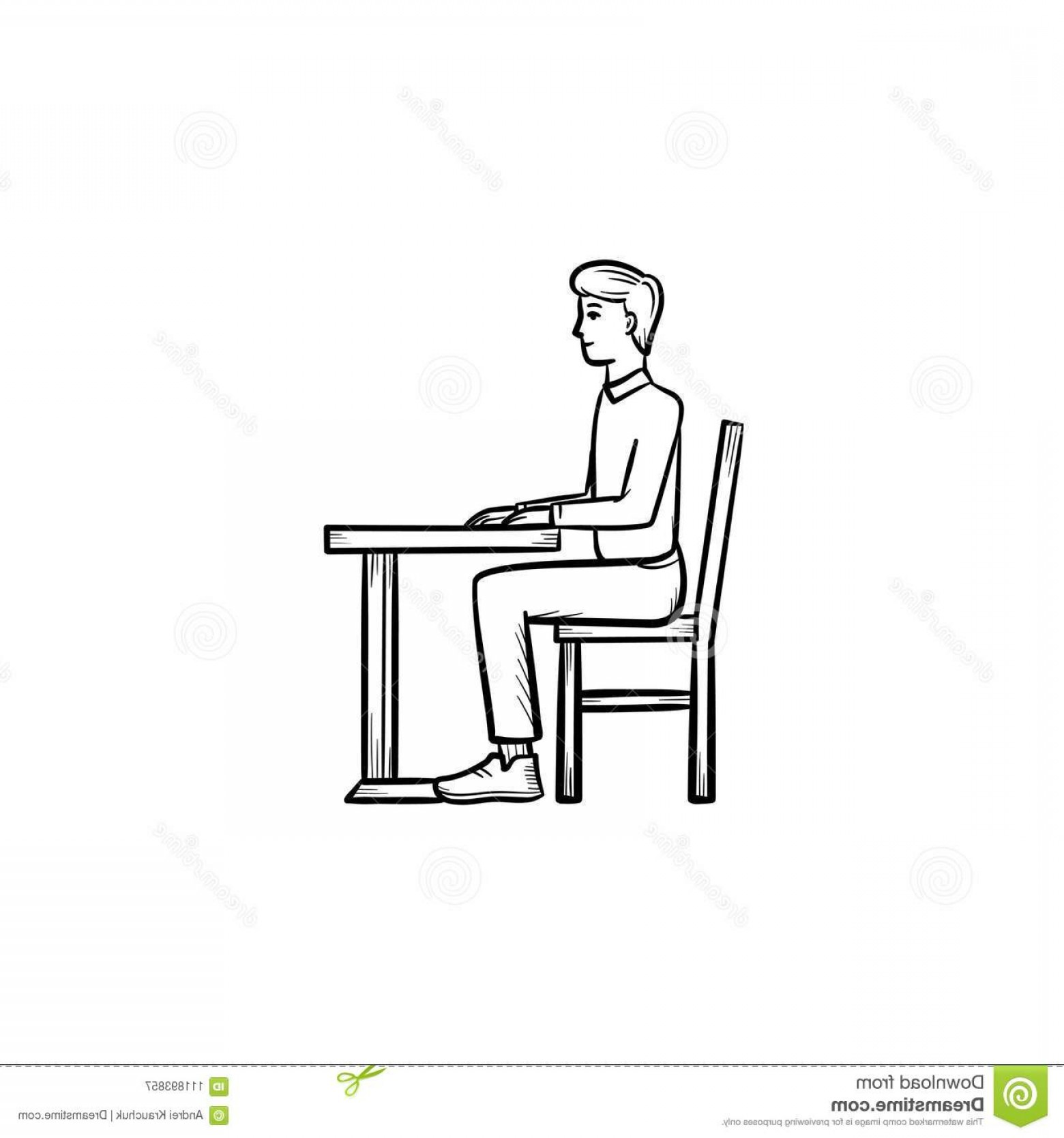 Student Desk Icon Vector: Student Sitting Desk Hand Drawn Sketch Icon Student Sitting Chair Desk Hand Drawn Outline Doodle Icon Person Image