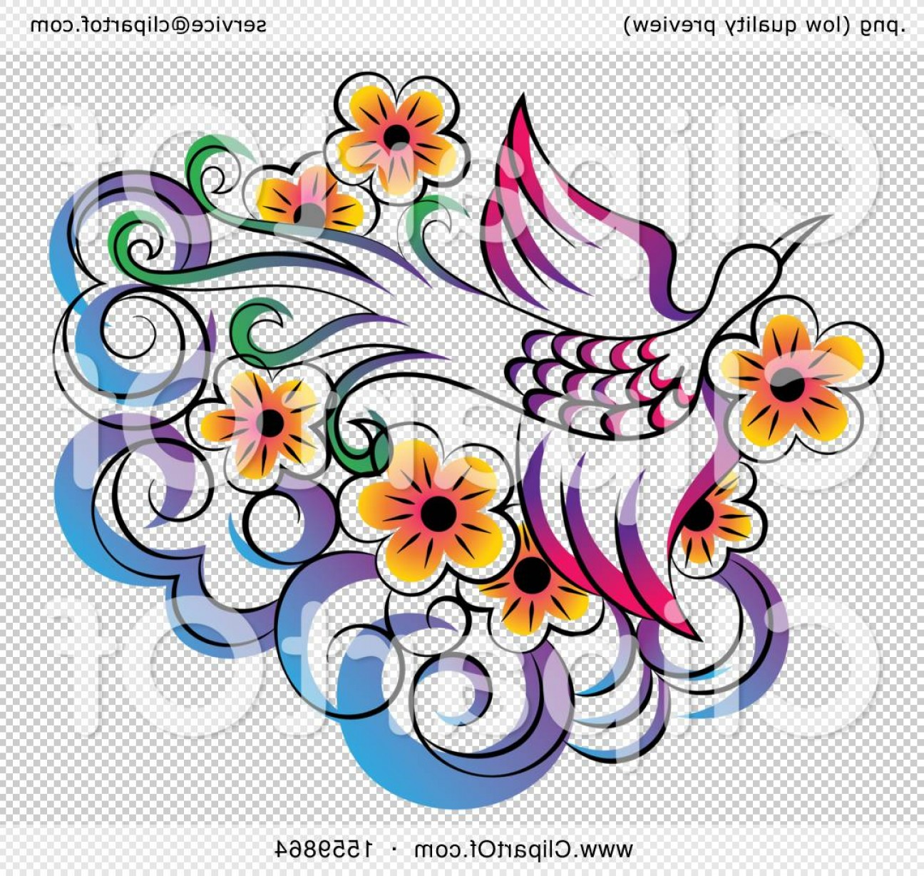 Firebird Vector Transparent Background: Stunning Phoenix Flying Over Flowers And A Cloud
