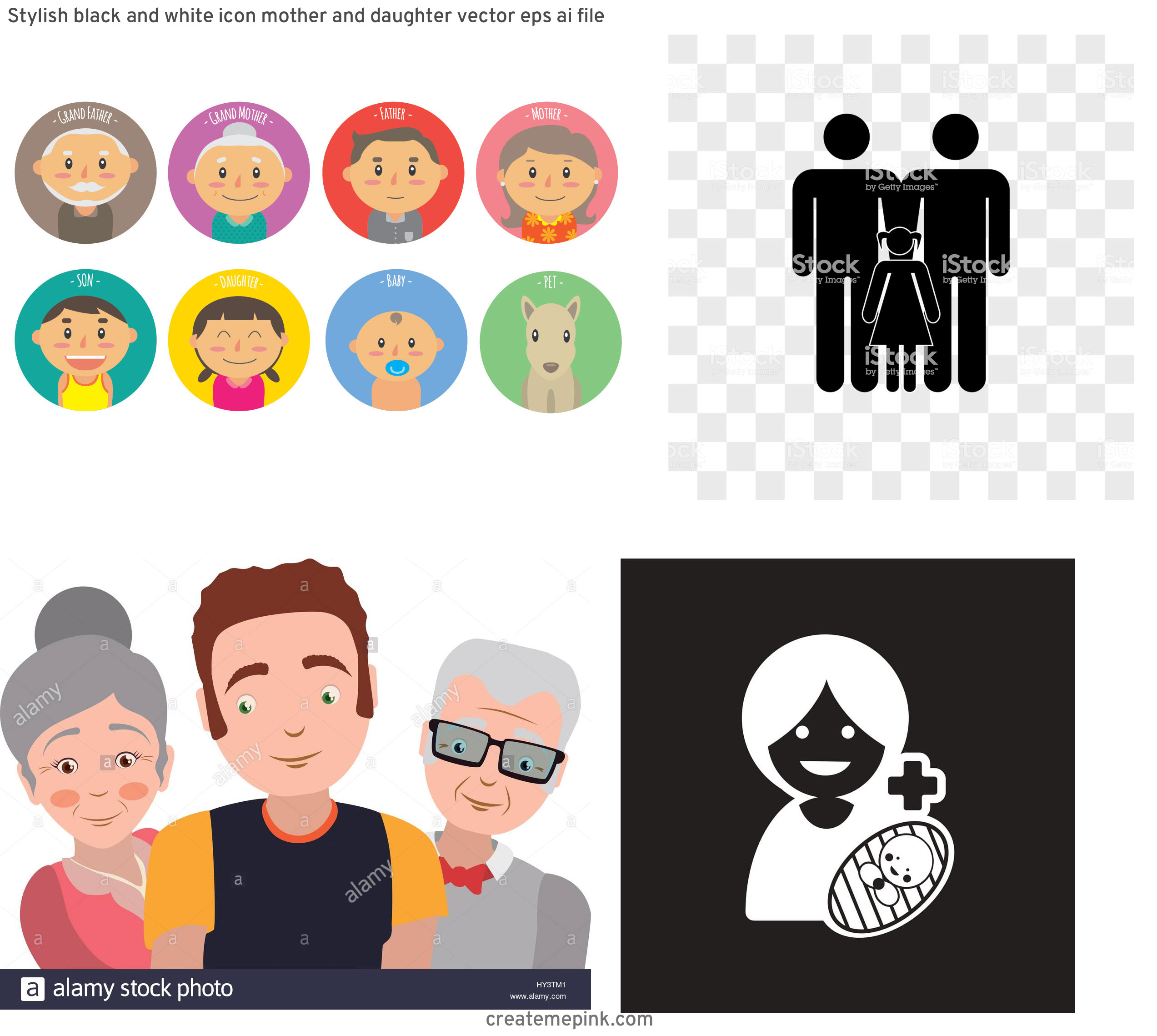 Daughter Vector Icons: Stylish Black And White Icon Mother And Daughter Vector Eps Ai File
