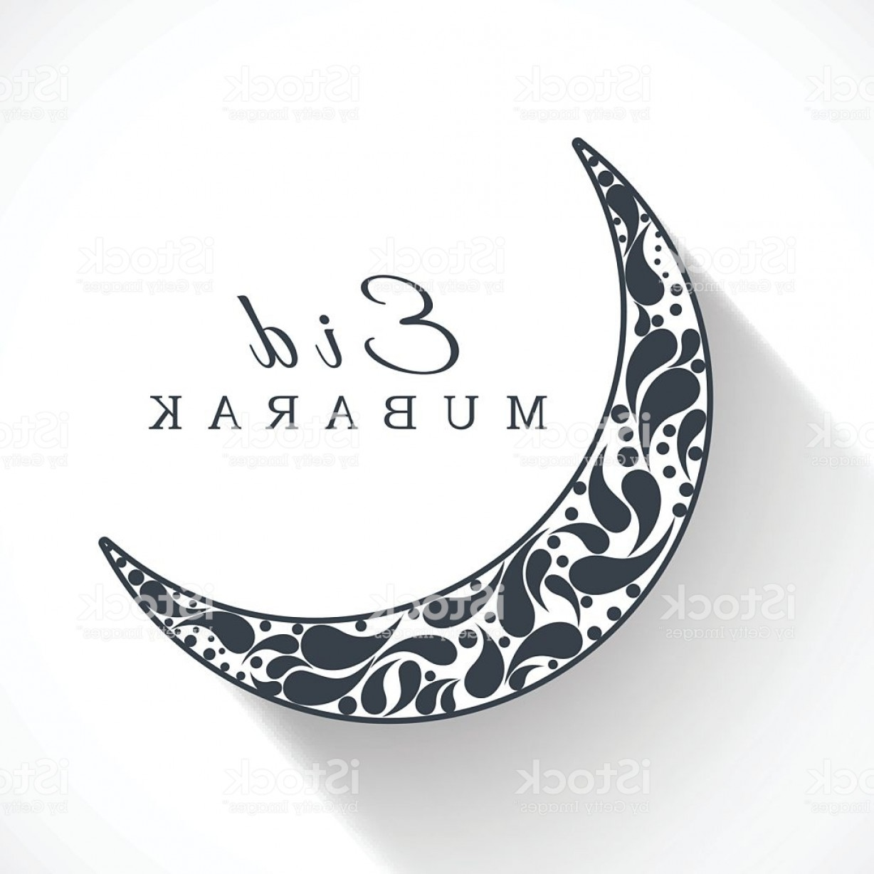 Cresent Moon Vector: Stylish Crescent Moon Decorated With Blue Floral Design Gm