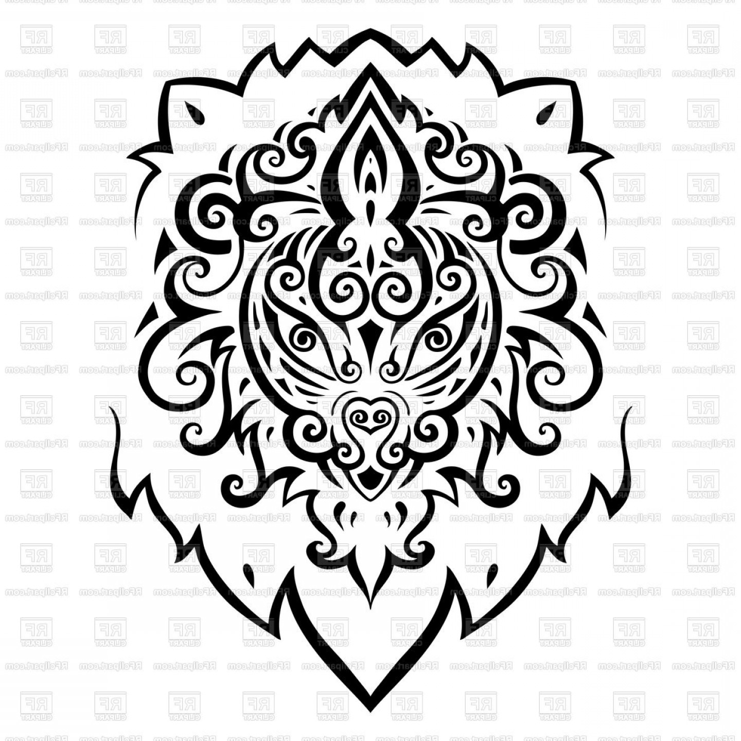 Detailed Tattoo Vector Images: Stylish Head Of Lion Ornamental Ethnic Tattoo Vector Clipart