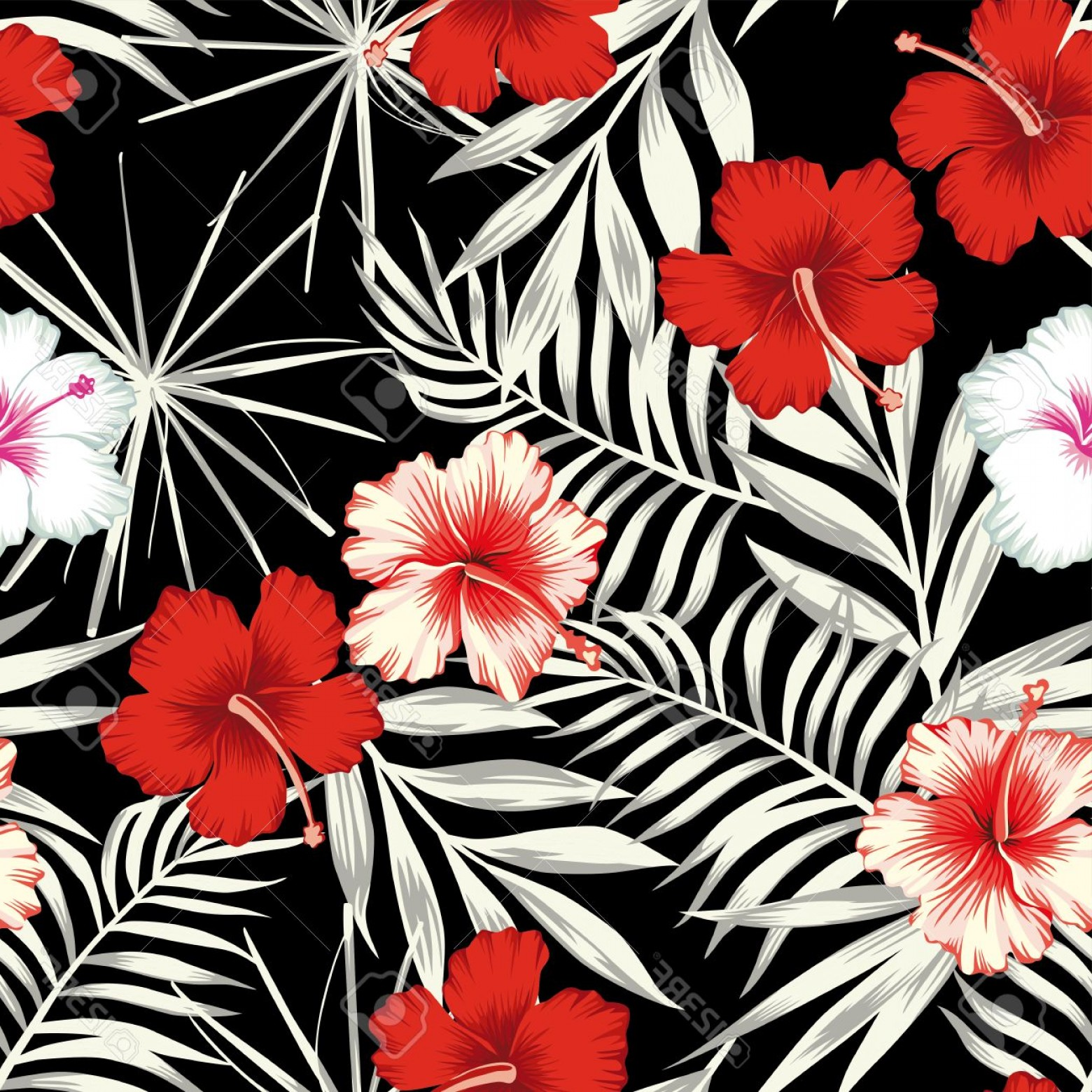 Hawaiian Flower Seamless Vector Pattern: Stylish Photostock Vector Red White Hibiscus Flowers On A Black And White Background Of Leaves Seamless Vector Beach Wallpaper