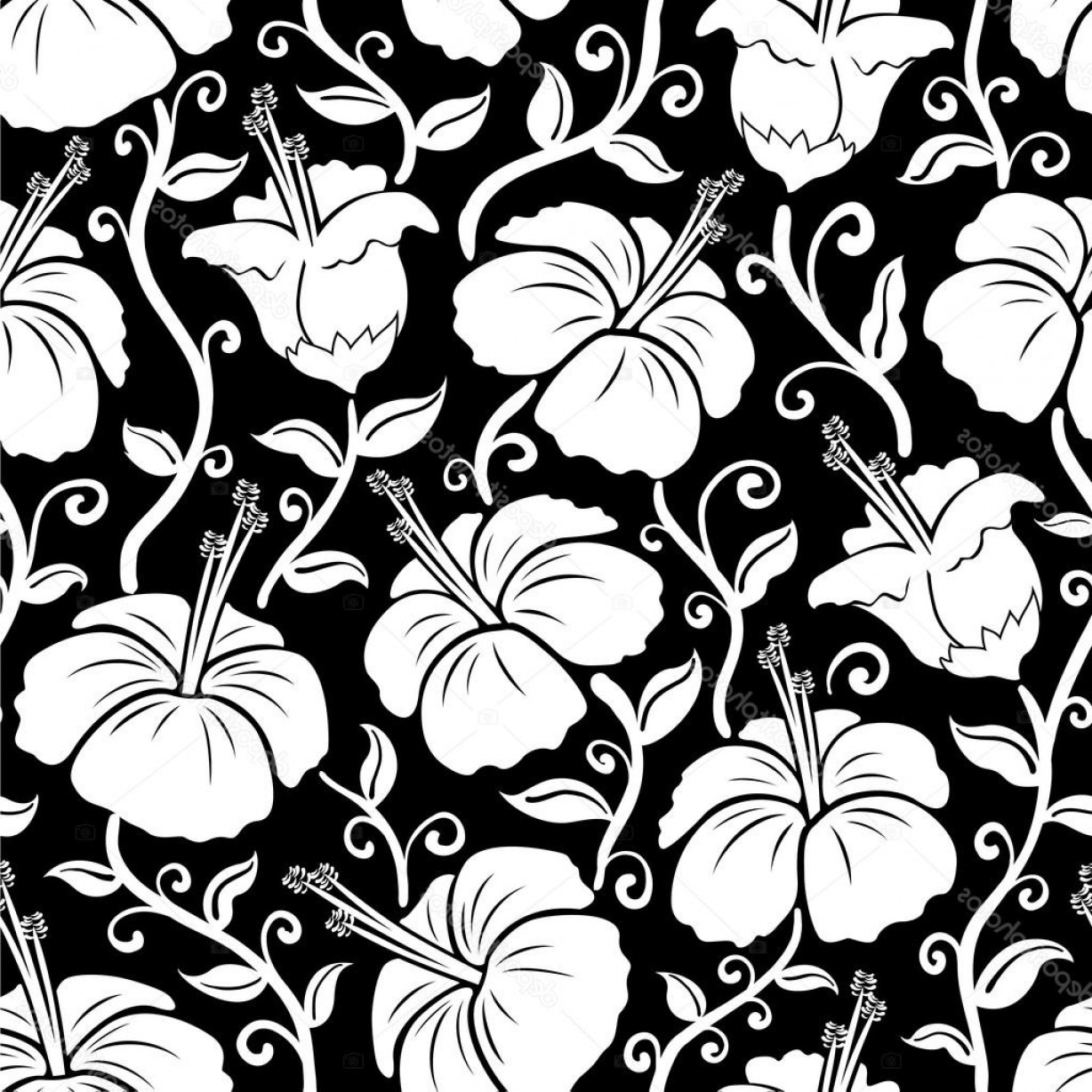 Hawaiian Flower Seamless Vector Pattern: Stylish Stock Illustration Hawaiian Print Seamless Hibiscus Flower
