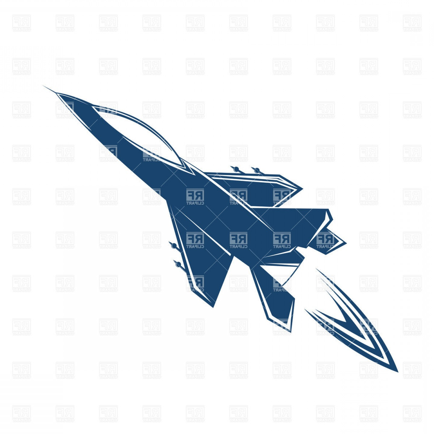 Vector Jet Fighter: Stylized Air Jet Fighter Zooming Through The Skies Vector Clipart