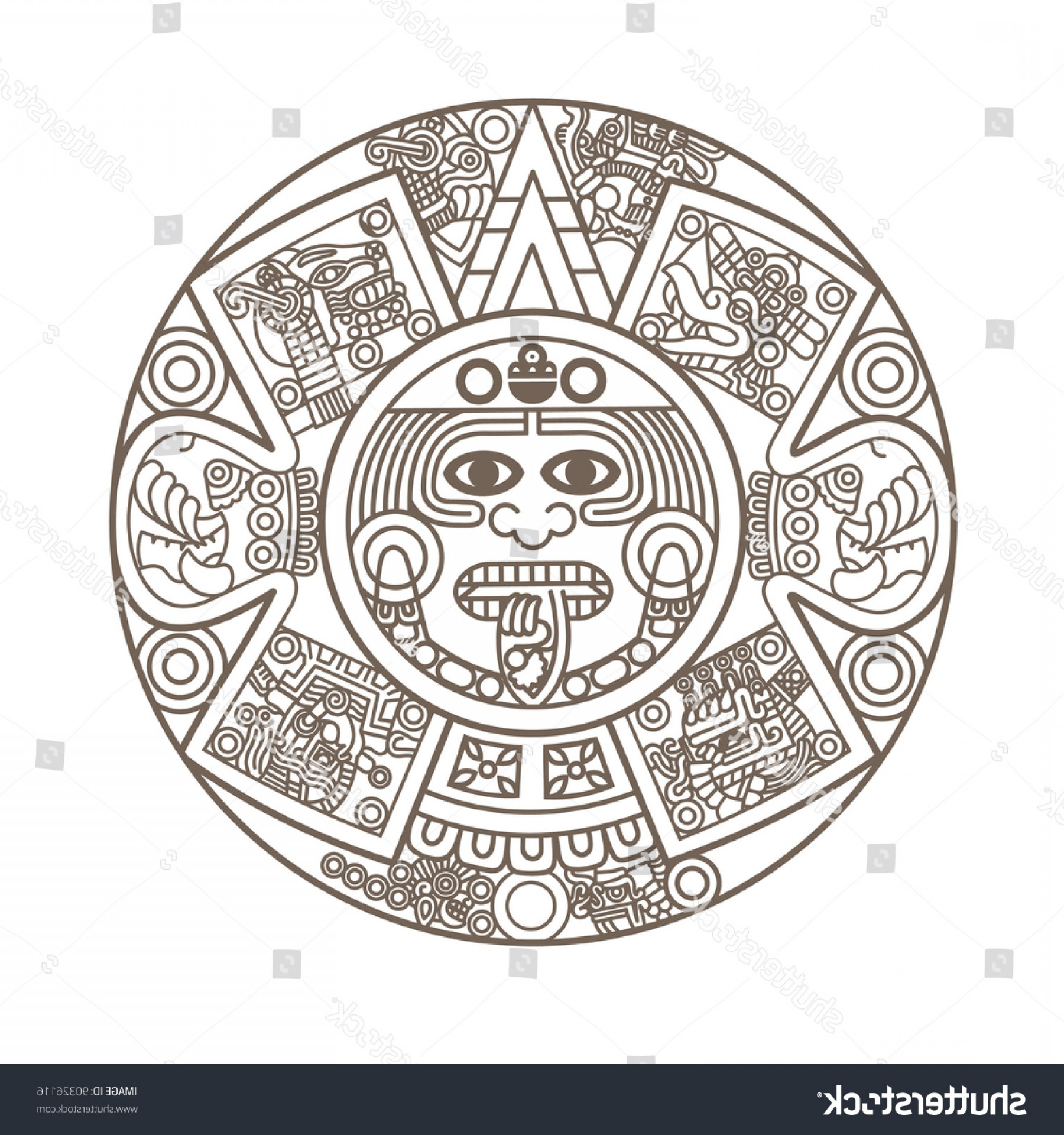 Mayan Sun Gold Vector Png: Stylized Aztec Calendar Gold Color Vector