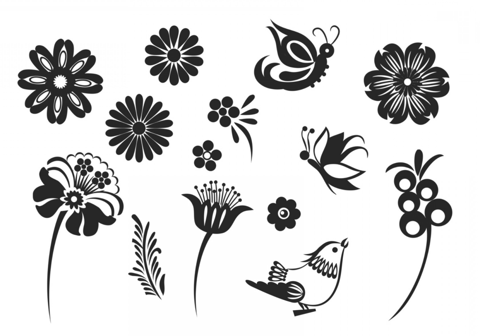 Butter Fly And Flower Vector Black And White: Stylized Butterfly And Flower Vector Pack