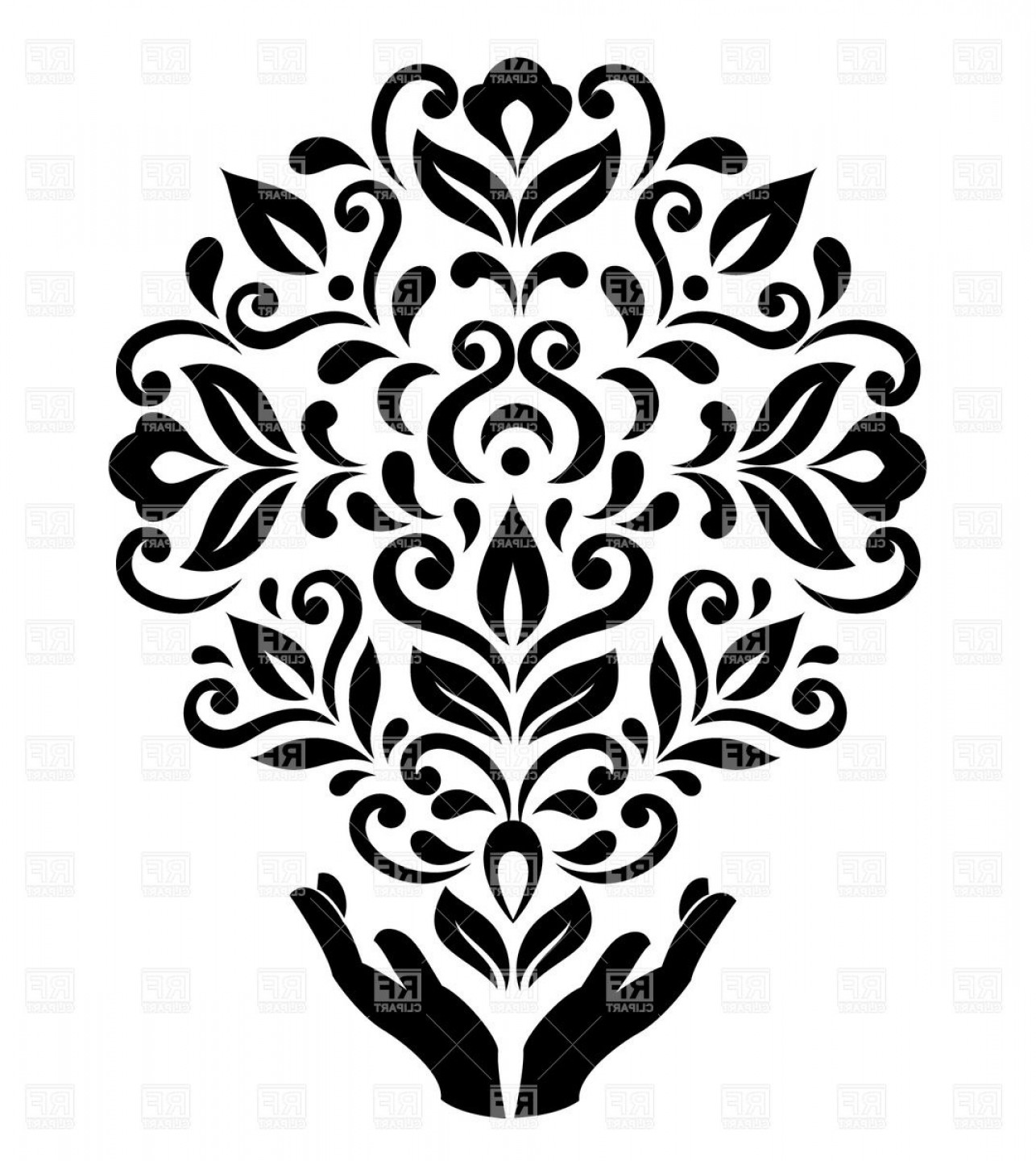 Floral Vector Illustration: Stylized Hands Holding Round Floral Ornament Vector Clipart