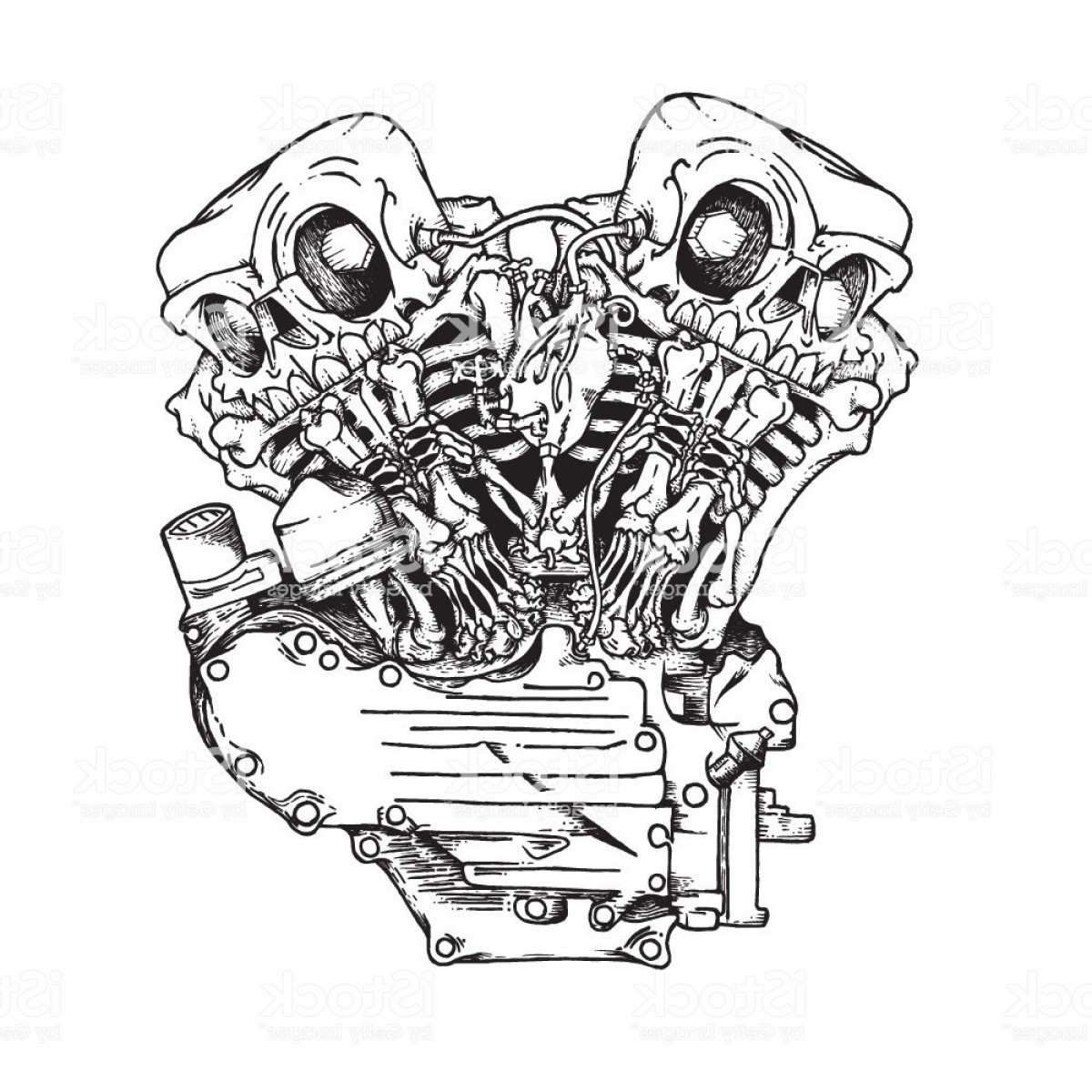 Stylized Vector Motorcycle: Stylized Knuckle Twin Motorcycle Engine Gm