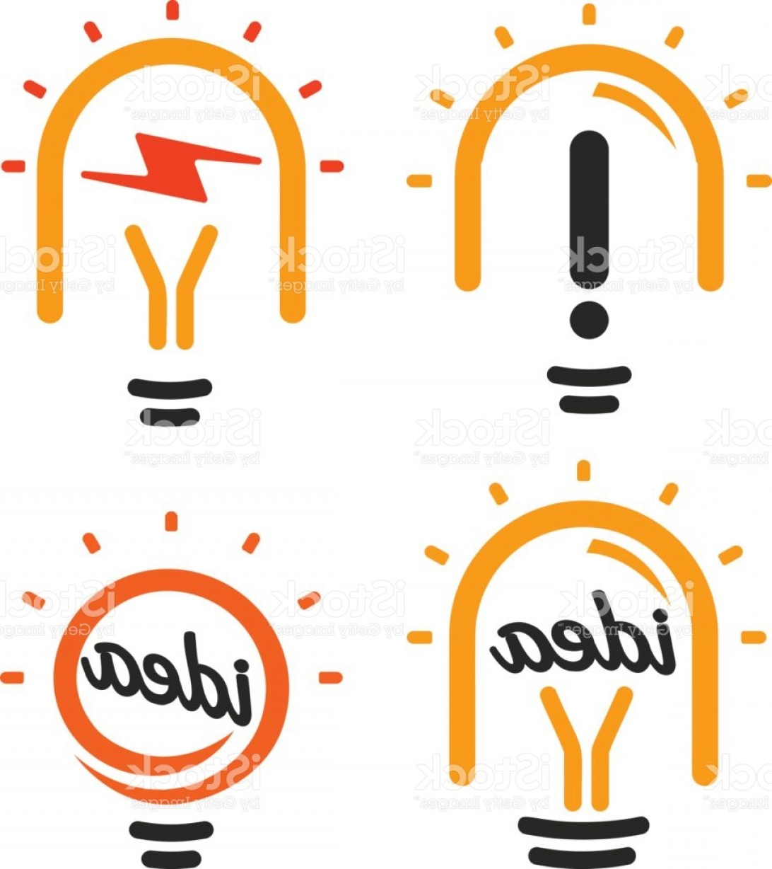 Simple Vector Logo: Stylized Lightbulbs Logo Set New Idea And Solution Abstract Symbol Flat Bright Gm