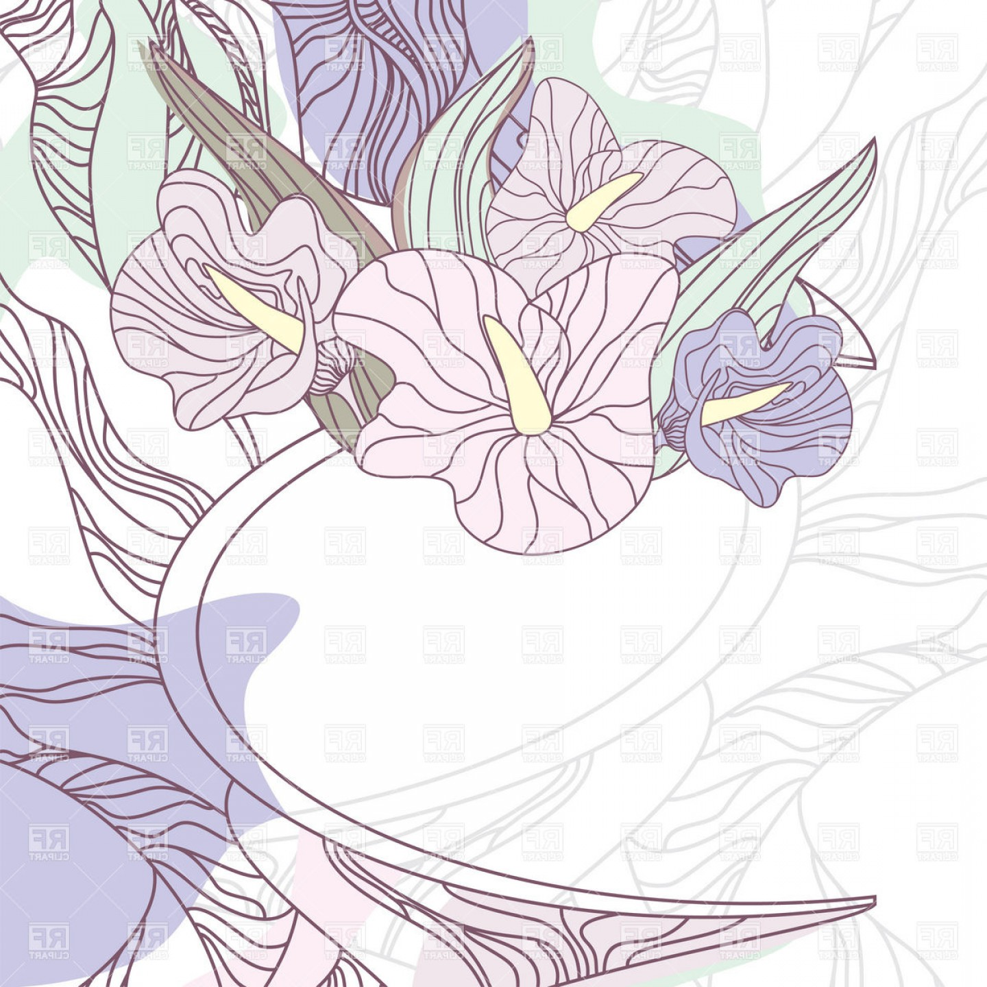 Lily Vector Art: Stylized Pallid Floral Background With Calla Lily Vector Clipart