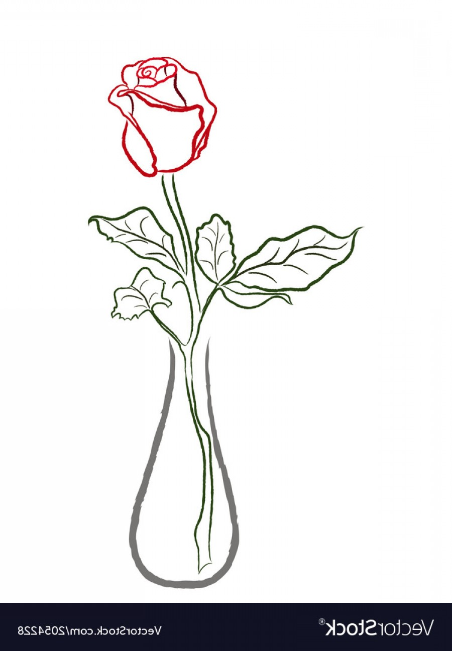 Vector Art Flowers In Vace: Stylized Red Rose In A Vase Vector