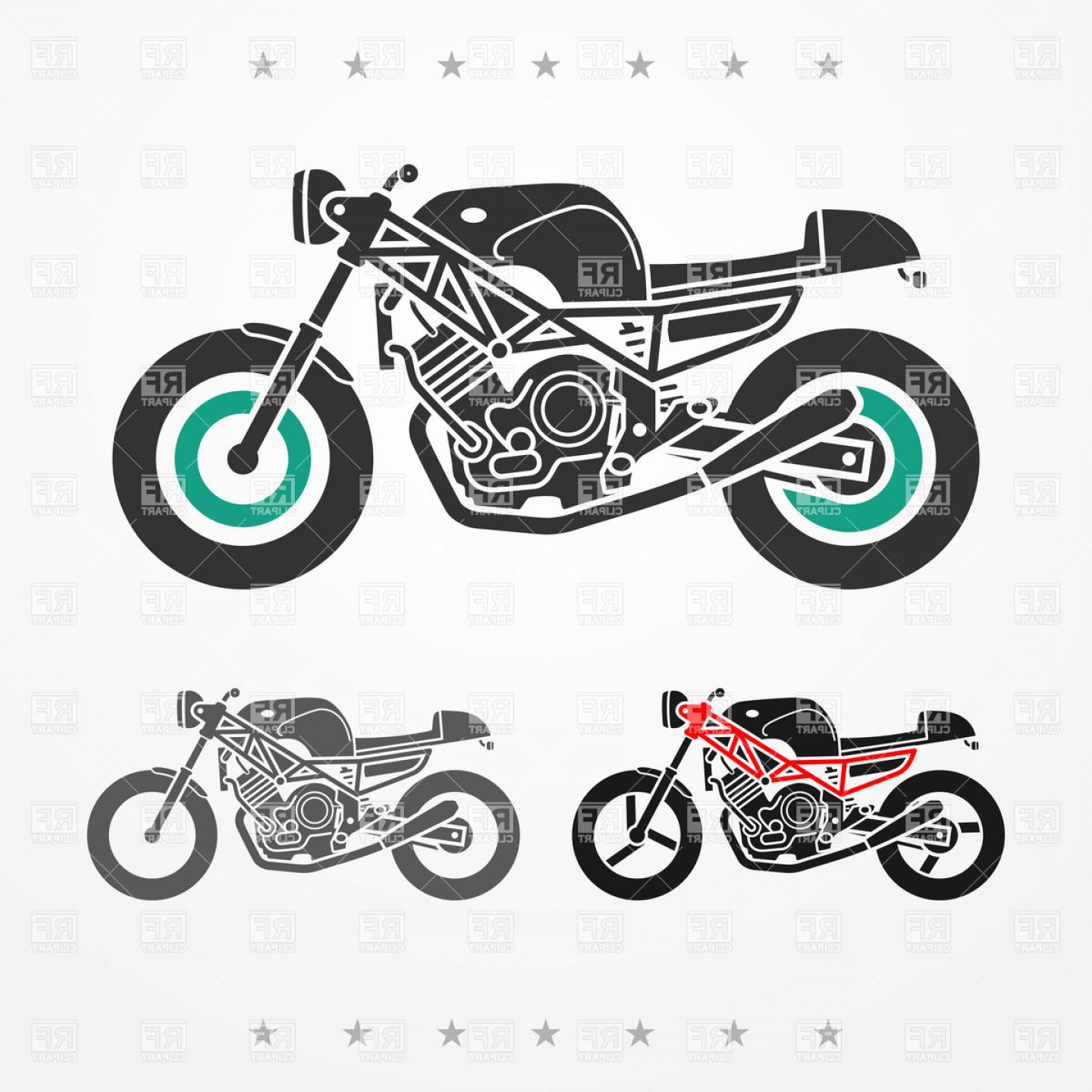Stylized Vector Motorcycle: Stylized Silhouette Of Modern Sporting Motorcycles Side View Vector Clipart