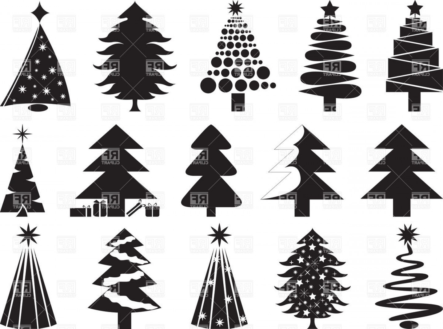 Tree Silhouette Vector Clip Art: Stylized Silhouettes Of Christmas Trees Vector Clipart