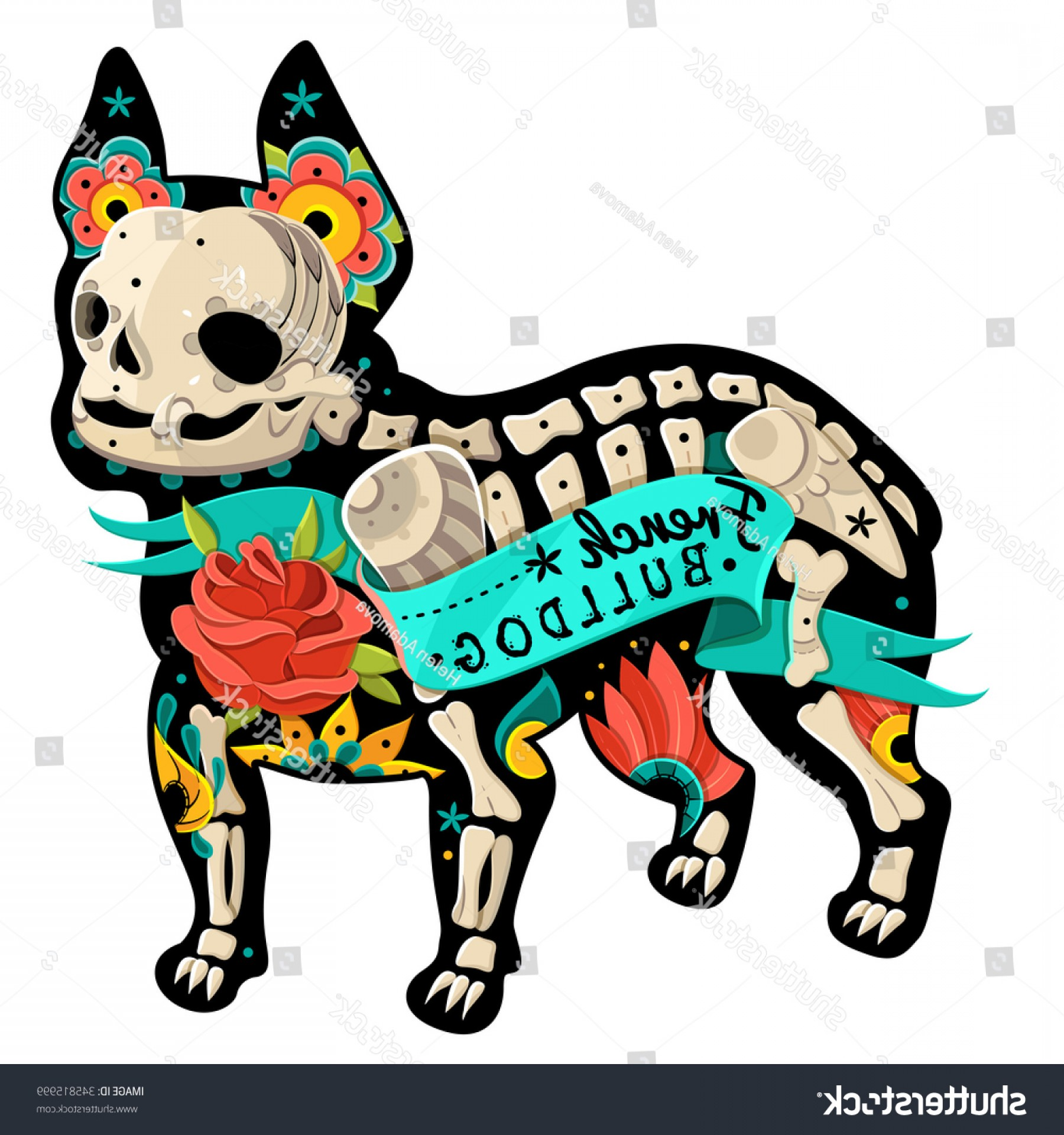 Bulldog Vector Art: Stylized Skeleton French Bulldog Vector Illustration