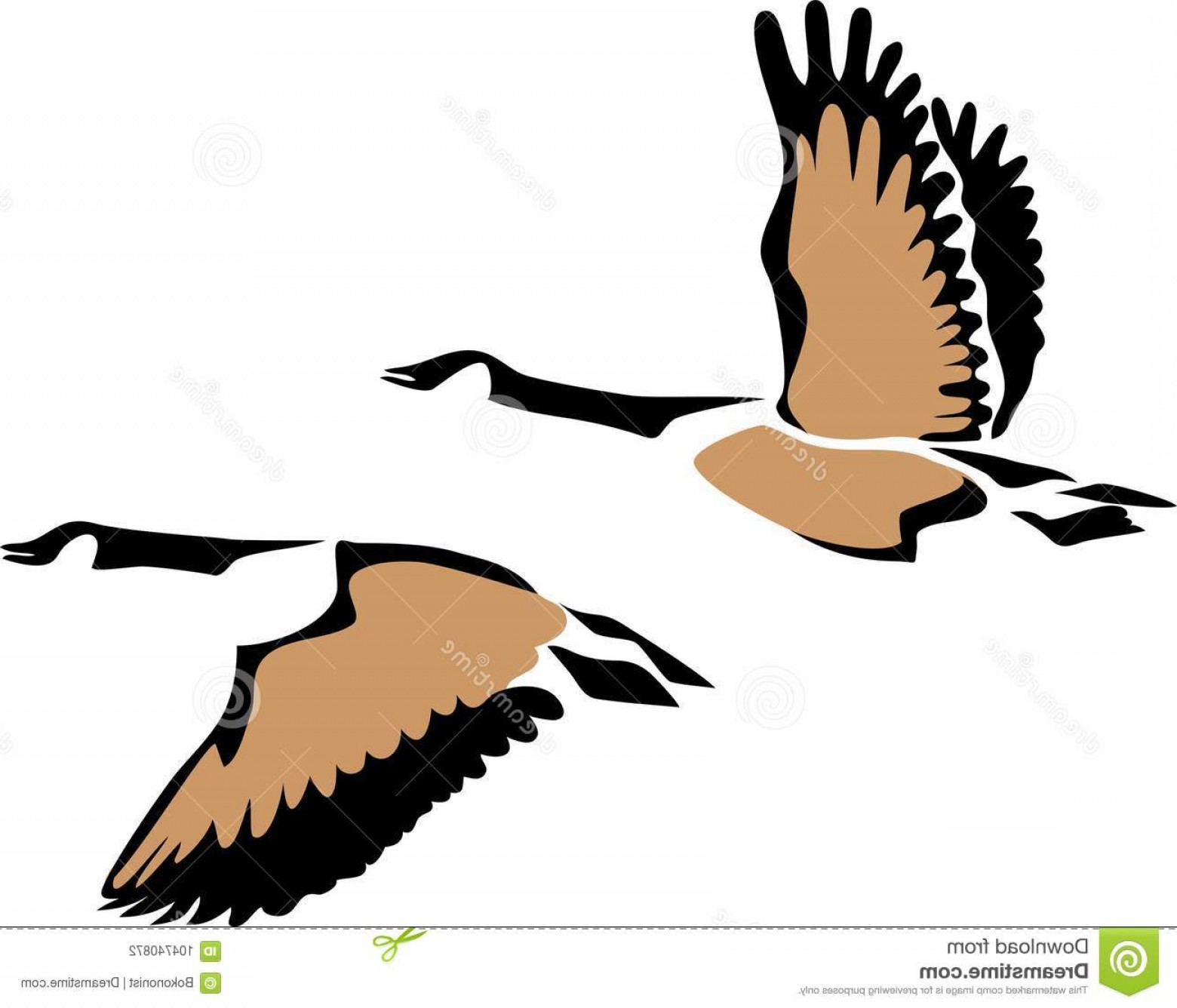 Geese Vector: Stylized Three Colours Vector Illustration Flying Geese Canada Goose Flying Image