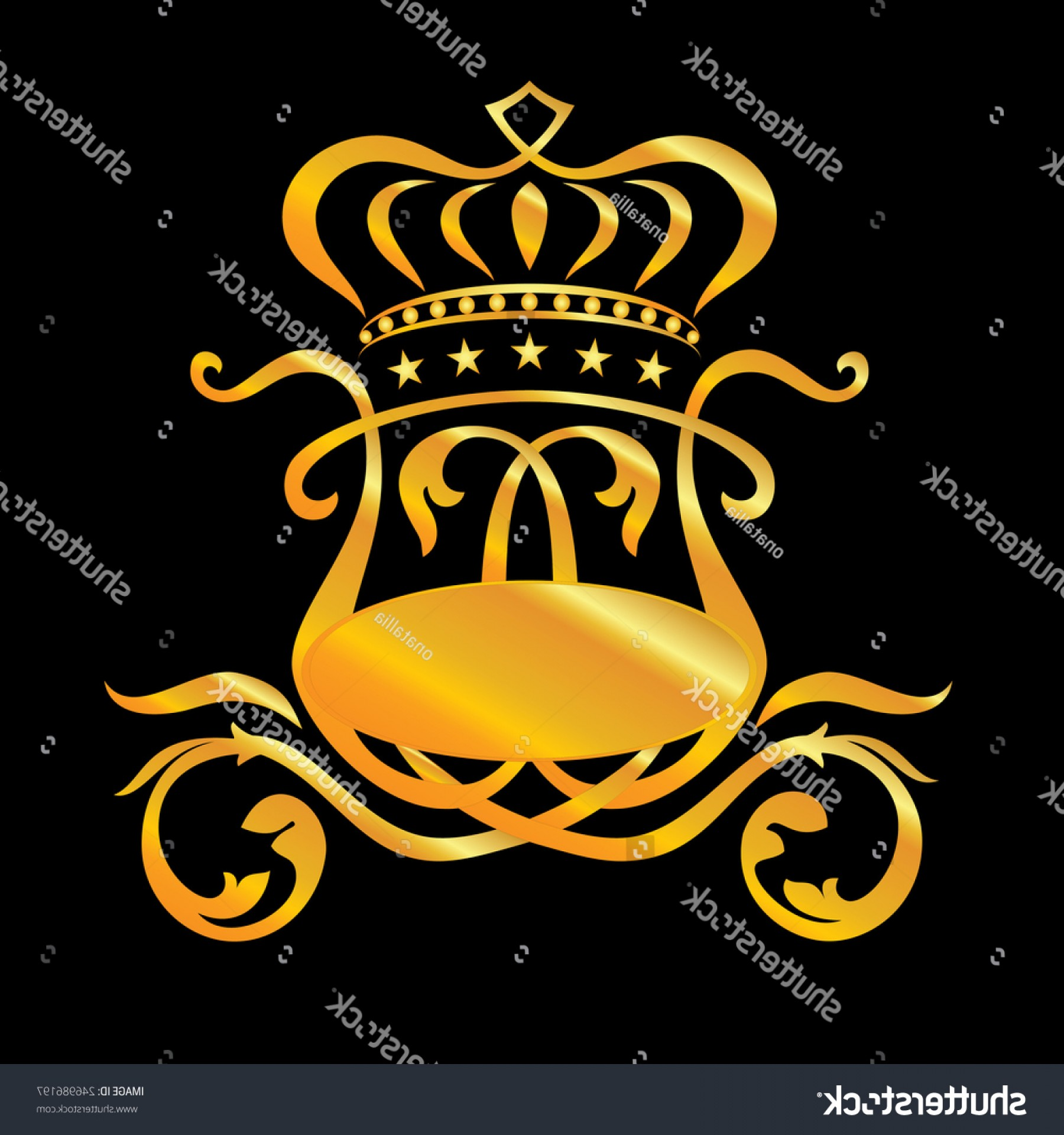 Coach Gold Logo Vector: Stylized Vector Golden Coach Crown Stars
