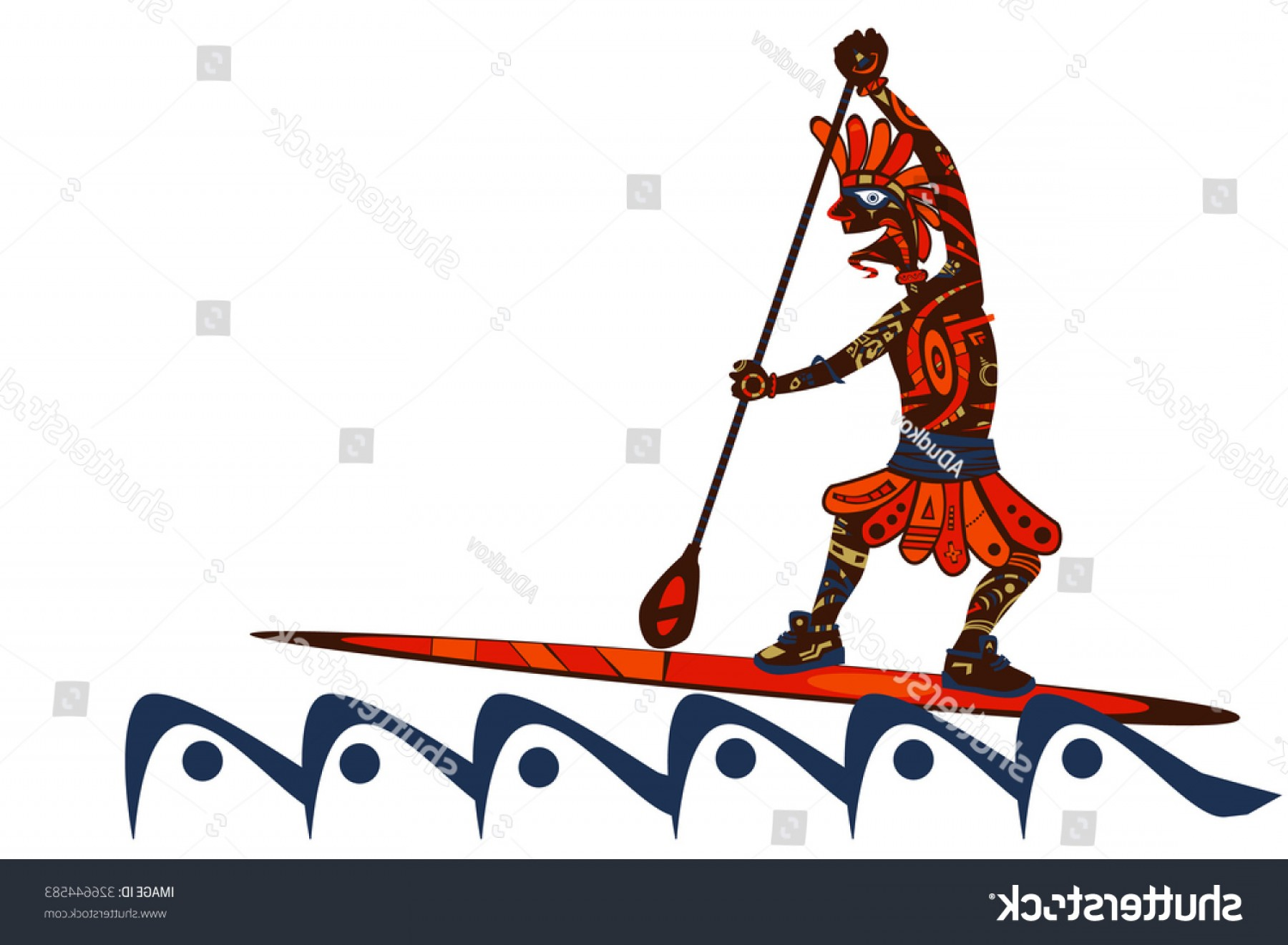 Stand Up Paddle Boarder Vector: Stylyzed Ethnic Tribal Stand Paddle Boarder