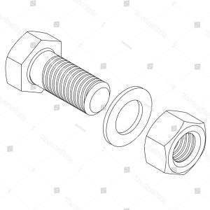 Steel Nut Vector: Stainless Steel Bolt Nut Vector Illustration