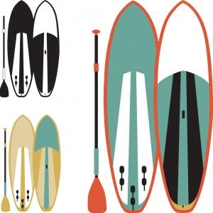 Paddleboard Vector Icons: Stock Illustration Stand Paddle Boarding Sup Surfing