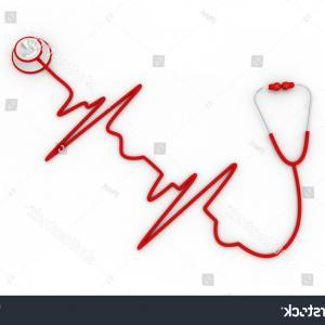 Heart Stethoscope With EKG Lines Vector: Stethoscope Shape Electrocardiogram Line Heart Beat
