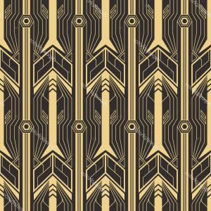 Art Deco Tile Vector Design: Abstract Art Deco Seamless Pattern Vector Modern Geometric Tiles Golden Lined Shape Luxury Background Image