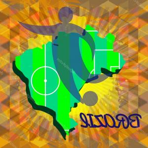 Digital Vector Silhouette: Stock Illustration Abstract Brazil Design With Country