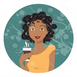 Black Woman Stock Vector: Stock Illustration African American Woman Drinking Coffee Vector Illustration Image