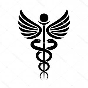 With Red Caduceus Vector: Photostock Vector Crossed Hands With Red Caduceus Medicine Symbol Cartoon Vector Illustration