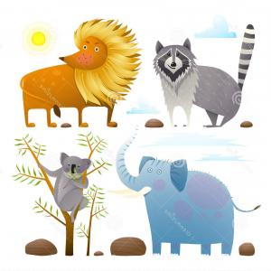 Vector Clip Art Collections: Stock Illustration Animals Zoo Clip Art Collection Lion Elephant Raccoon Koala Design Set Nature Items Isolated White Background Image