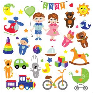 Baby Toy Vector: Stock Illustration Baby Girl Boy Baby Toy Icons Eps Set Cute Toys Little Cartoon Vector Shower Design Elements Registration Image