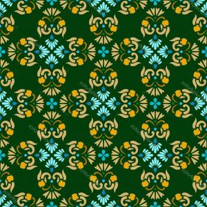 Gold And Blue Flower Vector: Stock Illustration Background Green Seamless Pattern With