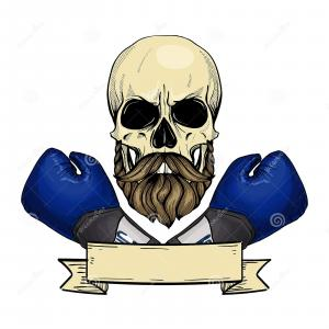 Vector Skull With Beard Angry: Stock Illustration Barbershop Logo Angry Sticker With