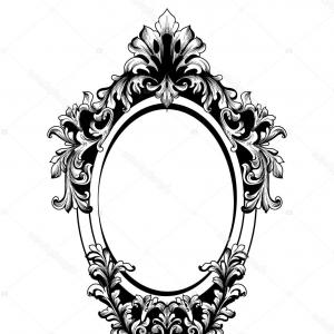 Luxury Round Frame Vector: Stock Illustration Baroque Mirror Round Frame Vector