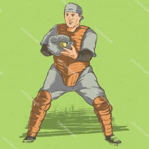 Softball Catcher Vector: Stock Illustration Baseball Catcher Vector Illustration