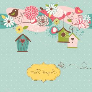 Vector Bird House: Stock Illustration Beautiful Spring Background With Bird