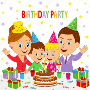 Pary Table Vector: Stock Illustration Birthday Partyfamily Sit At The